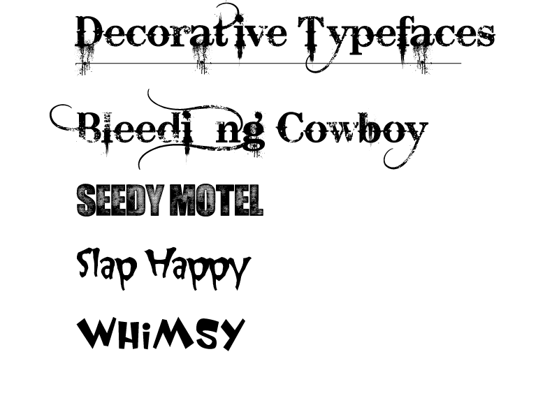 Decorative type examples
