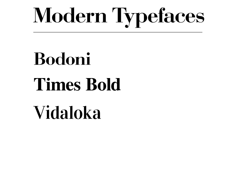 Modern typefaces