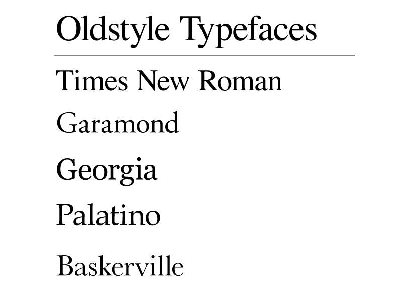 Oldstyle typefaces
